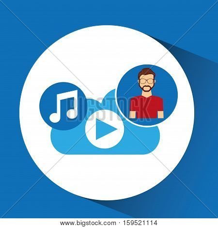 cartoon man hipster cloud music play vector illustration eps 10