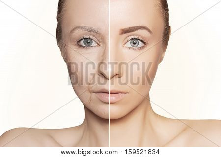 tow halves of caucasian woman face on white