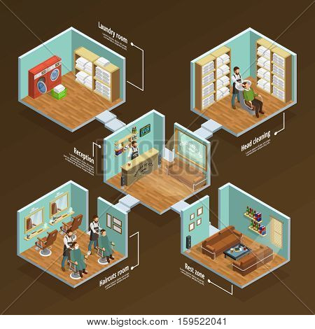 Barbershop isometric concept with haircut room and laundry on brown background vector illustration