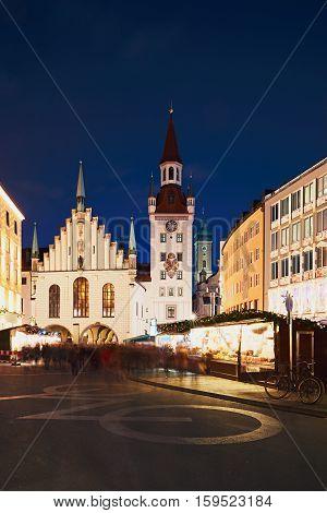 Marienplatz with the Christmas market in Munich Germany