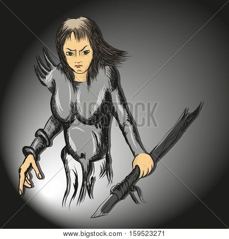 drawing strokes vector girl with a spear