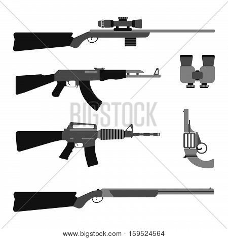 Modern Weapons Set. Flat Style Equipment. Isolated Weapons And Tools. Vector Illustration.