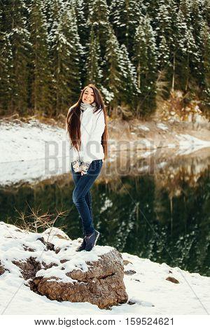 Happy Woman Walk In Snowy Forest