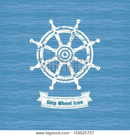 Ship helm icon. Sailboat steering wheel badge. Vintage marine label. Nautical rudder sign emblem. Vector sea navigation element. Sail vessel symbol. Freehand drawn retro style banner grunge background