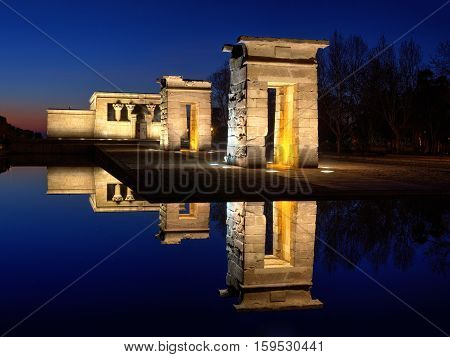 Temple of Debod. Egyptian temple in Madrid. Famous Landmark