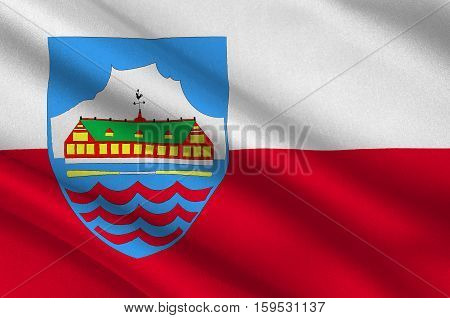 Flag of Nuuk is the capital and largest city of Greenland. 3d illustration