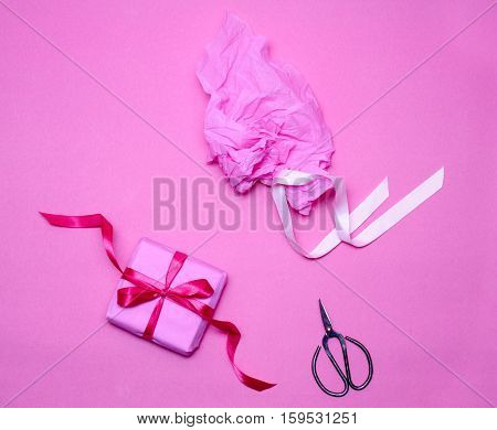 Box Gift, Paper And Antique Shears On Pink Background