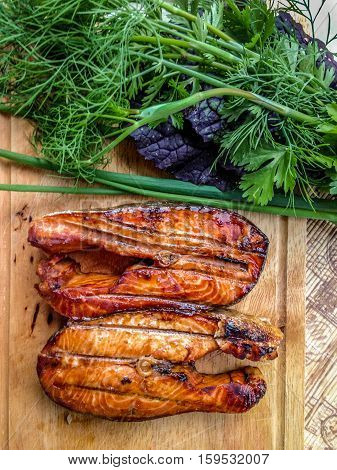 Coho salmon BBQ with Herbs red fish