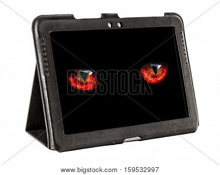 monster eyes looking to the tablet screen