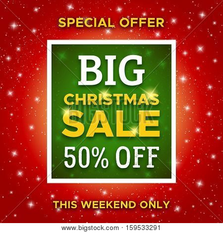 Big Christmas Sale promotion banner with special offer 50 percent off. Abstract red vector background with green typographic label for Xmas clearance marketing flyer.