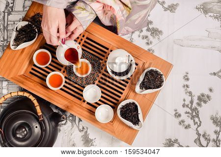 Traditional chinese tea ceremony accessories tea pair shot closeup