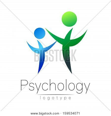 Modern people psi logo of Psychology. Family Human. Creative style. Logotype in vector. Design concept. Brand company. Green blue color isolated on white background. Symbol for web, print