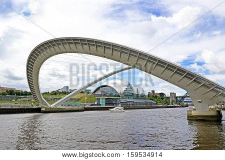 Millennium Tilting Bridge, Newcastle Quayside, England. on a Cloudy Day