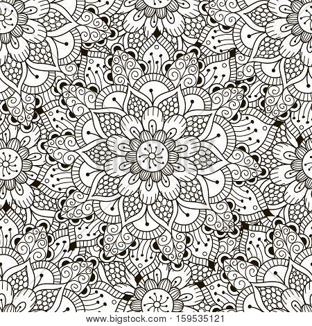 Floral ornament seamless pattern. Coloring pages for adults. Black and white round ornament texture, zentangle mandala. Great choice for wrapping, printing and fabric paper and for adult coloring page