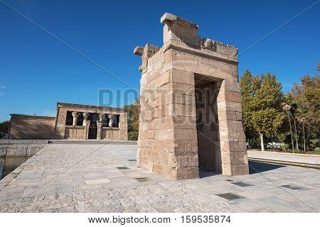 Famous Landmark Debod egyptian temple in Madrid Spain.