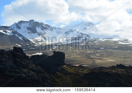 Amazing glacier view from Eldborg Crater in Iceland.