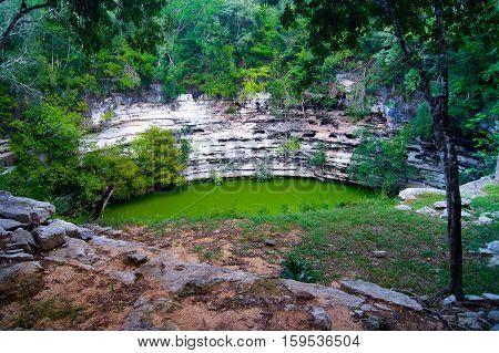 Yucatan cenote the water cave in Mexico