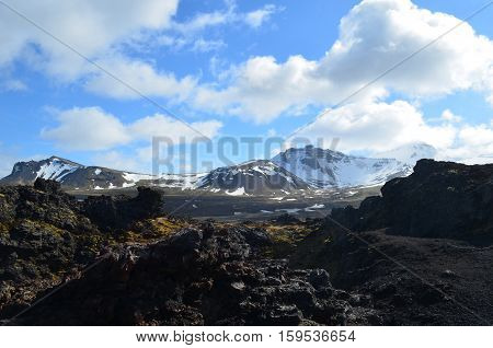 Scenic look at Eldborg Crater in Iceland.