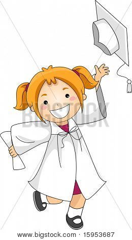 Illustration of a Kid Throwing Her Graduation Cap