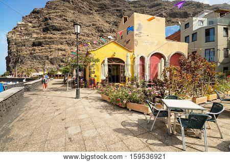 TAZACORTE SPAIN - JULY 12: Scenic view of a boulevard on July 12 2015 in Tazacorte La Palma Canary Islands Spain.