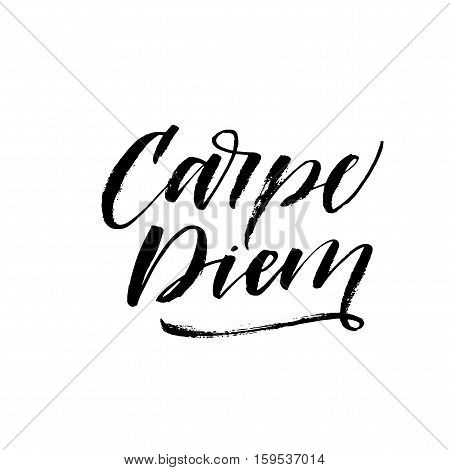 Carpe diem - latin phrase means Capture the moment. Inspirational quote. Ink illustration. Modern brush calligraphy. Isolated on white background.