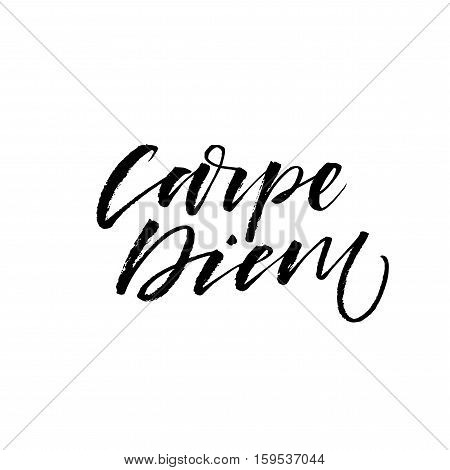 Carpe diem - latin phrase means Capture the moment. Inspirational quote. Ink illustration. Modern brush calligraphy. Isolated on white background. poster