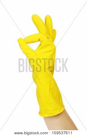 okay sign by hand in rubber glove isolated