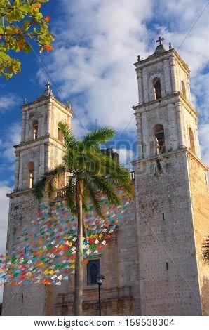 Valladolid church colonial in Mexico in Yucatan