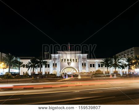 famous bab al bahrain square landmark in central manama old town at night