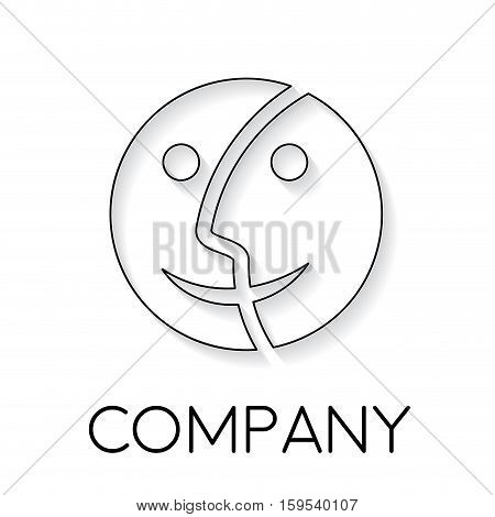 Vector sign abstract dual personality in linear style