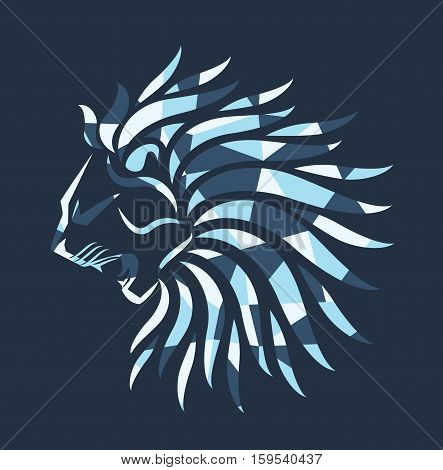 Lion polygon blue logo design vector stock