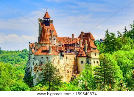 Famous Bran castle of Transylvania in spring time in a sunny day