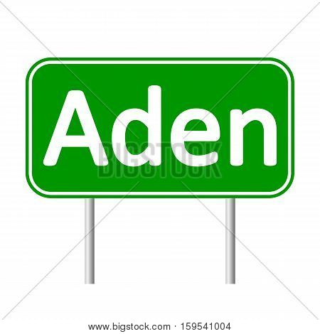 Aden road sign isolated on white background.