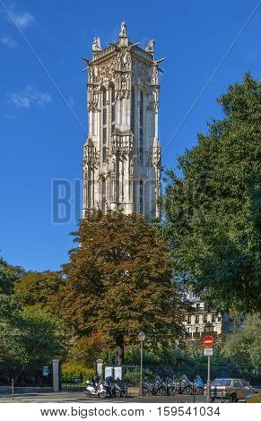 Saint-Jacques Tower is a monument located in Paris France. This 52-metre (171 ft) Flamboyant Gothic tower is all that remains of the former 16th-century Church
