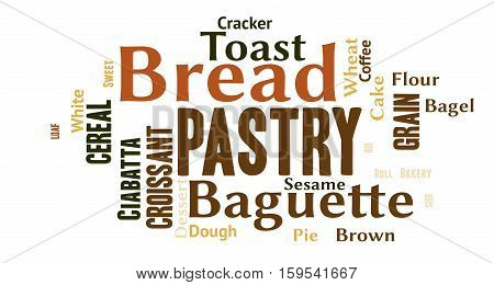A word cloud with bakery related concepts