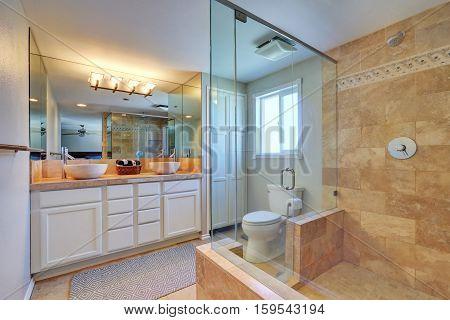 Master Bathroom Interior With Walk In Shower