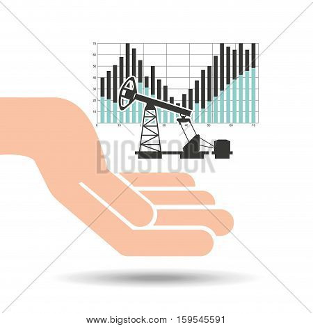hand oil industry refinery financial chart vector illustration eps 10