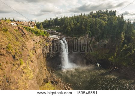 Snoqualmie Falls waterfall. Wide angle view of the famous waterfall in Snoqualmie, Washington, USA.