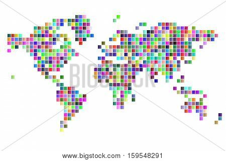 world map square pixels random colored white baclground