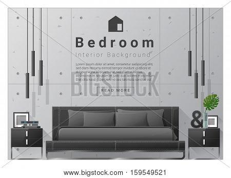 Interior design bedroom background, vector , illustration