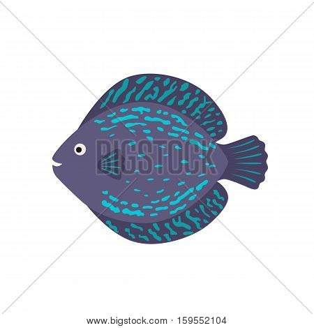 The aquarium fish discus blue violet. vector illustration in flat style