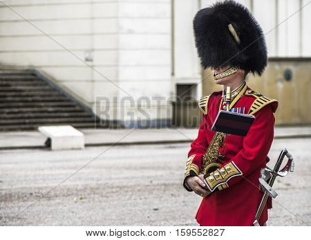 LONDON, THE UK-MAY 2016: Royal guards changing ceremony at Whitehall
