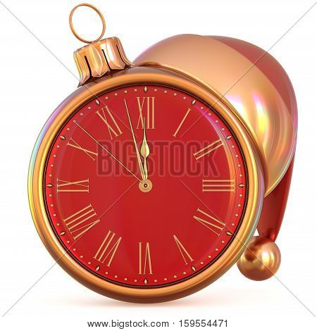 New Year's Eve clock Christmas ball midnight hour countdown time Santa Claus hat decoration ornament red gold adornment. Traditional happy wintertime holiday future beginning pressure. 3d illustration