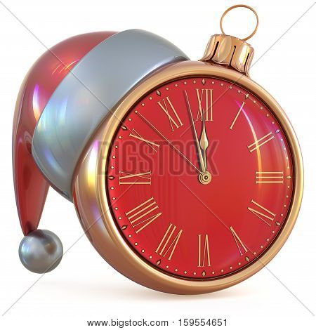 Christmas ball New Year's Eve clock midnight hour countdown time Santa Claus hat decoration ornament red gold adornment. Traditional happy wintertime holiday future beginning pressure. 3d illustration