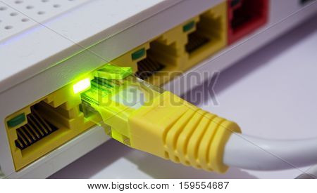 internet adsl cable with green light on