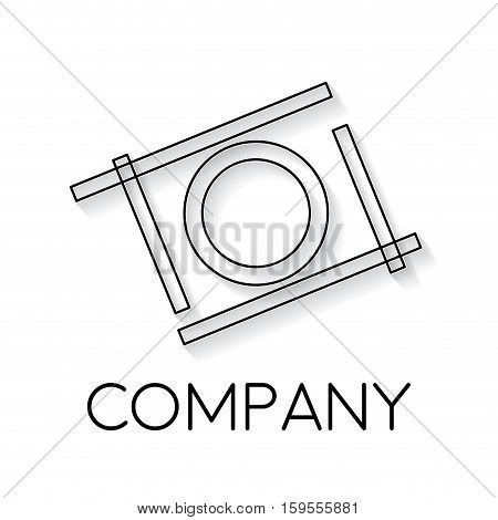 Vector sign abstract camera in flight in linear style