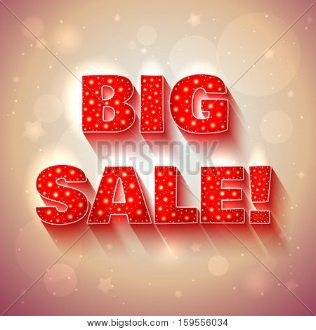 Vector BIG SALE banner in red and purple colors on background with shining effects and stars.
