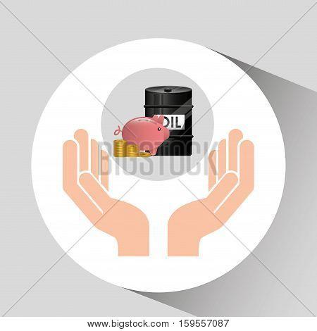 hand oil industry barrel piggy money vector illustration eps 10
