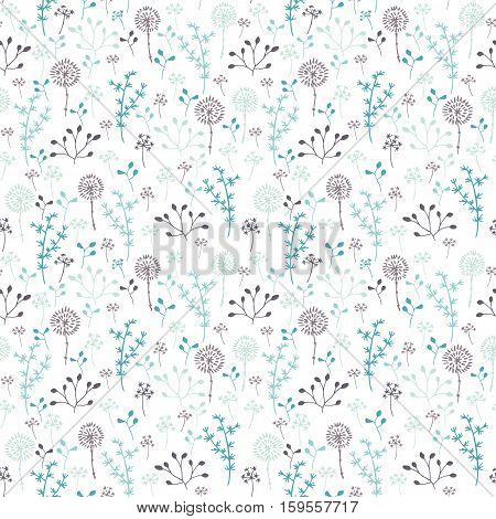 Stylized winter nature. Seamless pattern with plants.