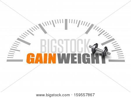 Gain weight text with dumbbell and weight scale. Best for Gym, Fitness, Wellness, Health and Beauty concept.